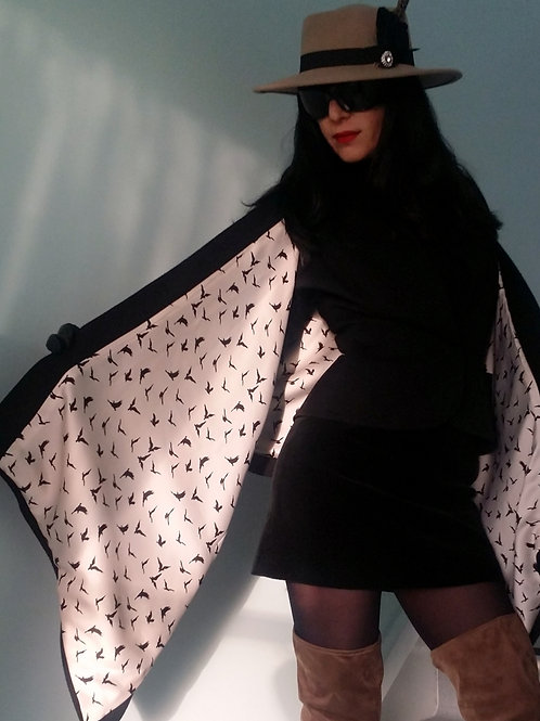 100% Black cashmere Montpelier Wrap with Birds lining