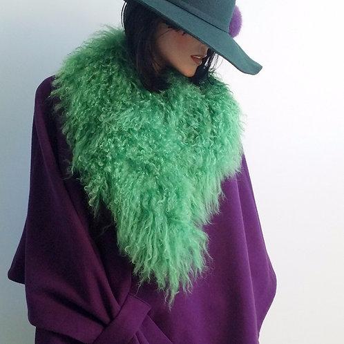 100% Mongolian Lamb fur collar Green
