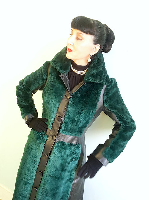 Unique & stunning Emerald Green dyed sheared coney & leather early 1970s coat