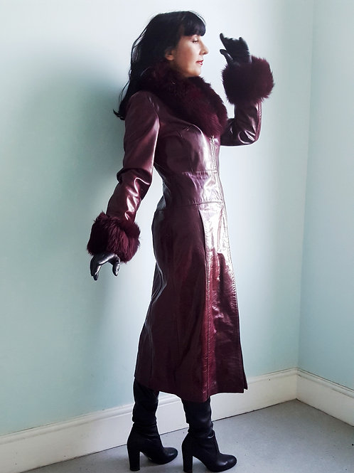 Vintage waxed patent leather coat with sheepskin collar & cuffs