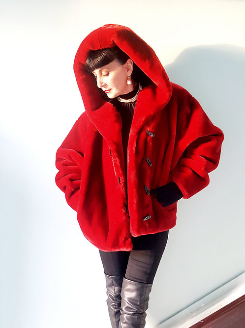 Rolls Royce of faux furs Apparence: Red hood faux fur coat high cotton content