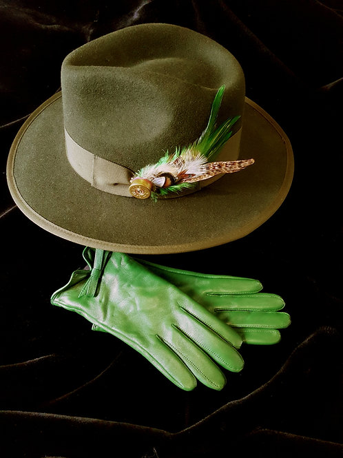Hat & Glove set : Green Trilby with Shotgun cartridge/feather brooch