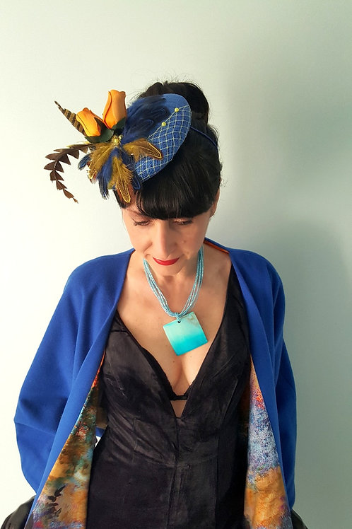 Blue and Saffron Sinamay hat