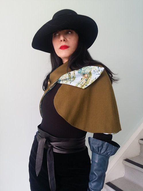 Olive green wool Belle Epoque Cape with mosaic print lining