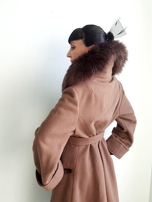 1970s Spinney Pure New Wool & sheepskin fur collar coat