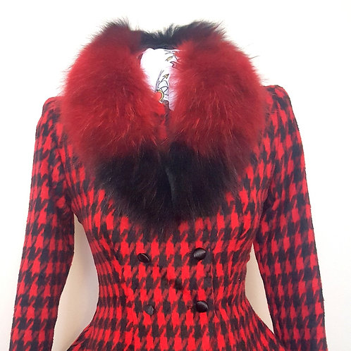 Red and Black Fur Collar