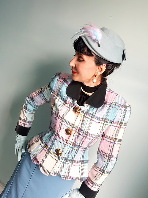 Vintage design ladies  tweed woo/ silk mix, jacket & silk velvet jacket