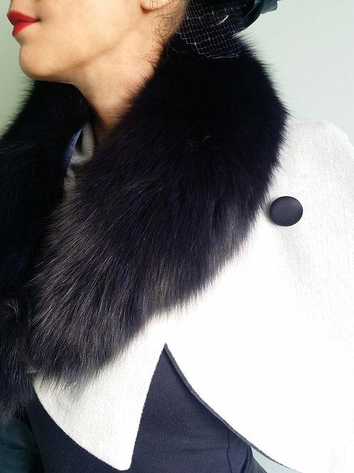 Navy Blue Fur Collar