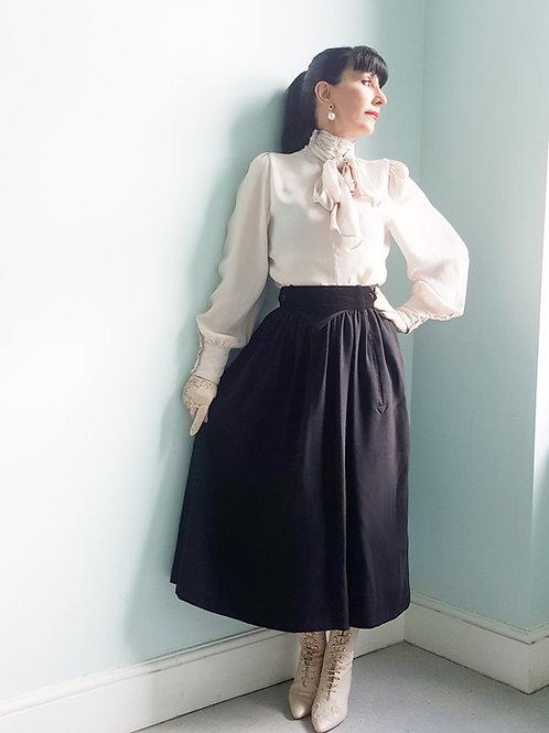 Vintage Escada UK size 8 Skirt Pure New Wool & Black Velvet skirt Margaretha Ley