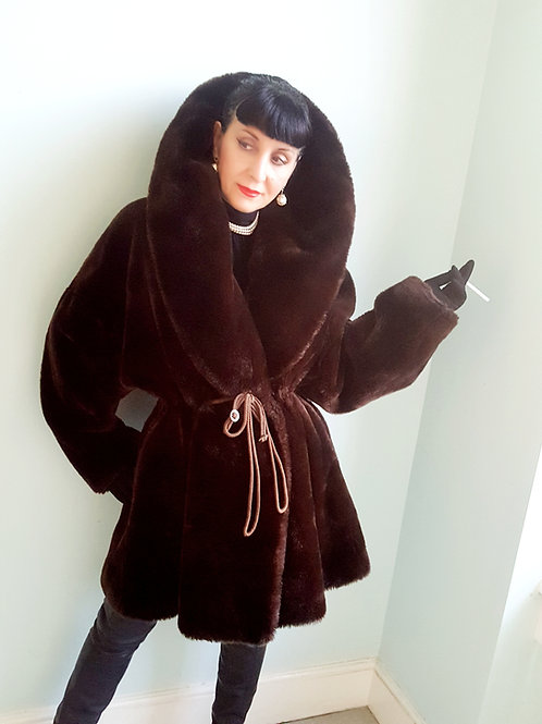 Vintage early 1990s Nicole Farhi drawstring fit and flare faux fur -high quality