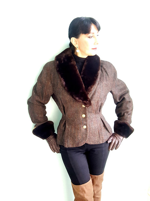 Mansfield Pure New Wool Tweed & faux fur Jacket 1980s does 1940s equestrian