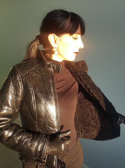 Black Patent leather/Sheepskin Aviator jacket by Guess
