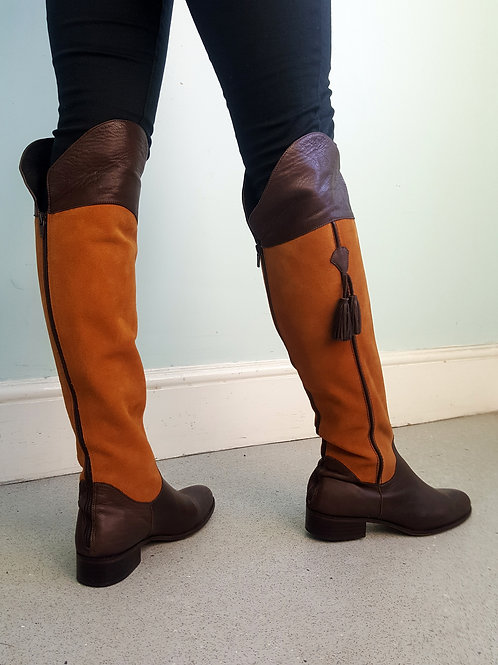 Spanish Riding boots dk brown leather & tan suede with tassels
