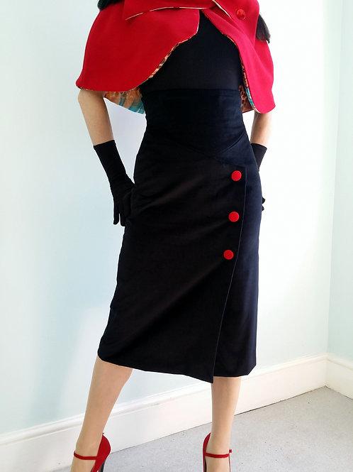'Ava' High Waist Velvet Pencil Skirt by Zorica Z Red cashmere buttons
