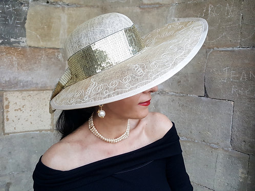 Vintage sinamay hat decorated with beautiful gold sequin band