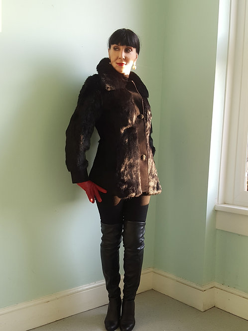 Vintage black coney fur & suede late 1960s/early1970's jacket