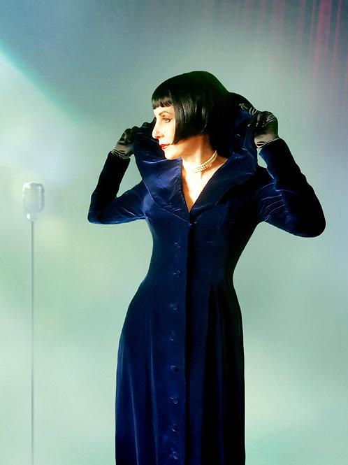 She Wore Blue..Velvet.. Midnight blue 1930s velvet gown/opera coat boudoir dress