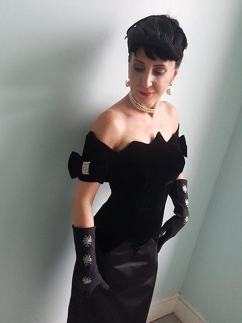Dramatic Glamorous black silk velvet satin & diamante vintage designer dress