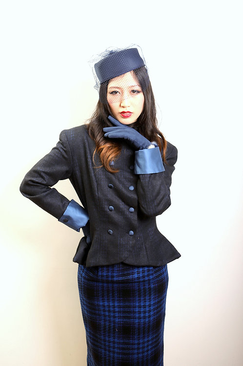 Charcoal and Blue bloom weave Cashmere and Wool Jacket