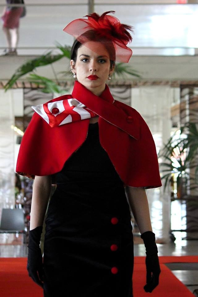 Serbian Prague based Fashion Model Nataša Palačković models our 'Bird of Flames; Belle Epoque cape with velvet pencil skirt with matching red cashmere fabric buttons