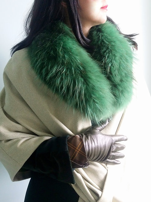 Medium Green fur collar