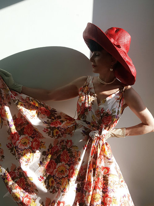 Styled to Go: 1950s repro cotton dress pastel green gloves, & red rafia hat