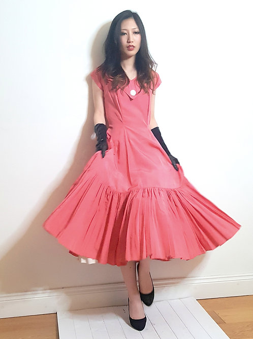 Norman Young original 1950s coral gown immaculate size 10 UK