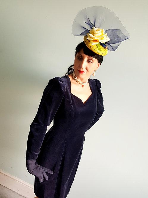 Vivien Smith iconic navy blue velvet dress