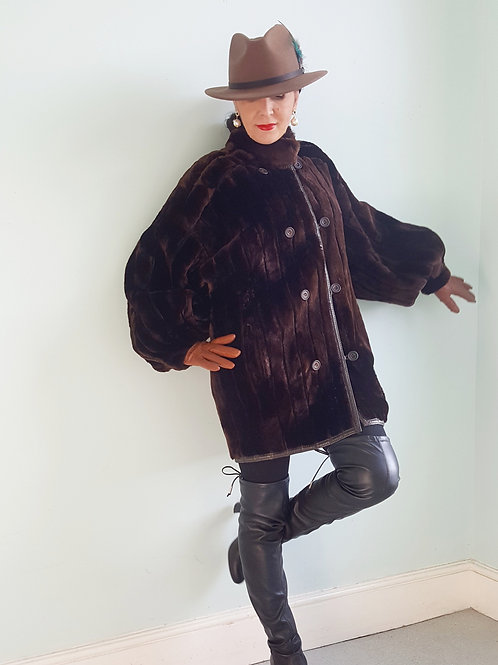 Sprung Freres Couture Reversible sheepskin fur coat slouch casual cosy