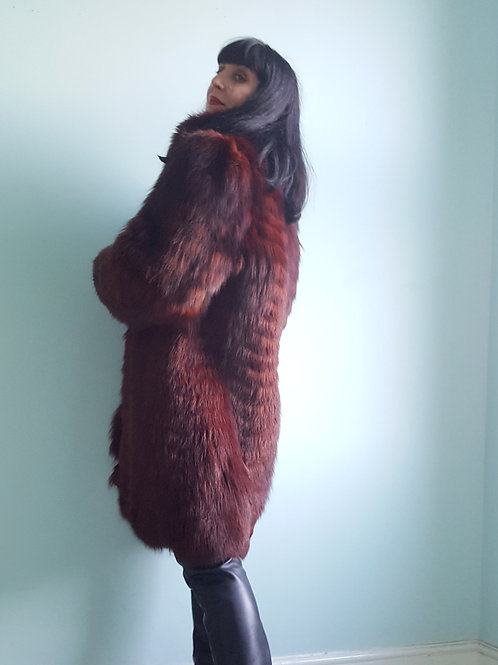 Vintage Burgundy Fox fur chevron feathered 3/4 length coat