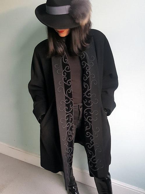 Mansfield loose fit black Cashmere velvet & embroidery front revere coat