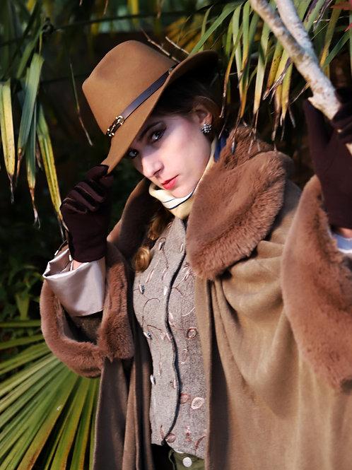 Dark Camel colour Faux fur trim wrap