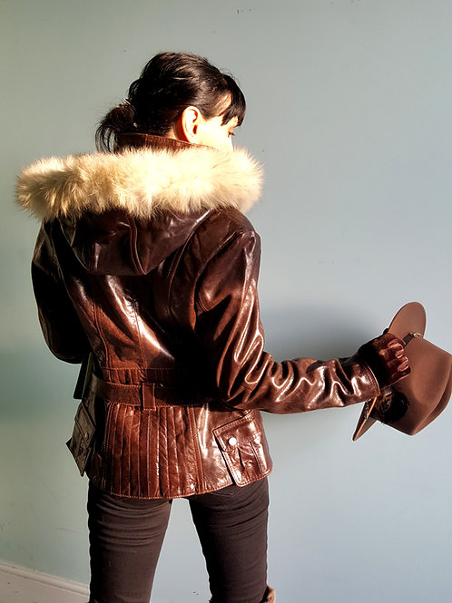 Waxed leather belted coat with fur trim hood
