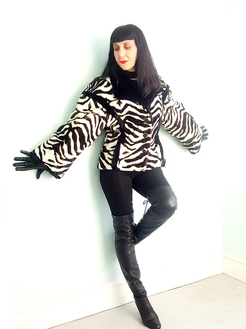 Amazing zebra print high quality faux fur by Tissavel immaculate 1970s