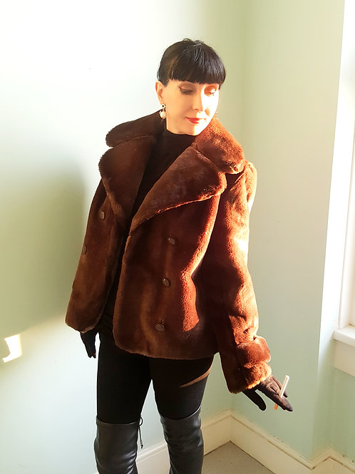 Beautiful high quality Faux sheared beaver look reefer look jacket 1960s
