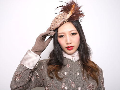 Fawn Sinamay hat, veiled lattice studded with Pearls and feather coup