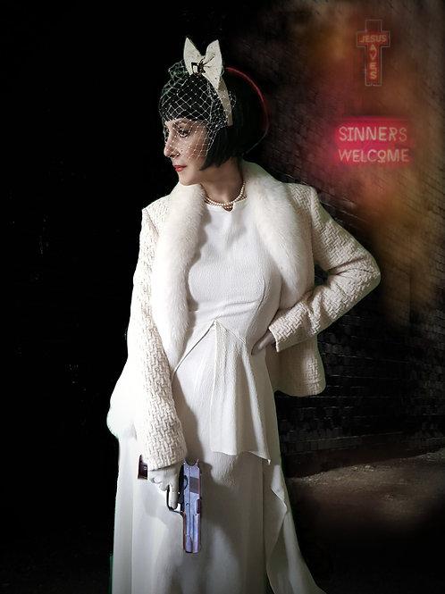 Vintage George Rech Ivory/White Wool & fox fur couture jacket Bridal/Wedding?