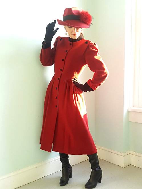 Mansfield Cashmere & wool Romantic Red Riding Coat with black velvet details