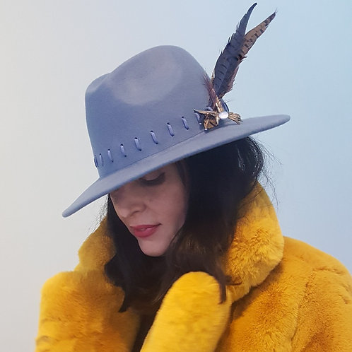 Sky Blue Wool Trilby with vintage Bird brooch & Feathers
