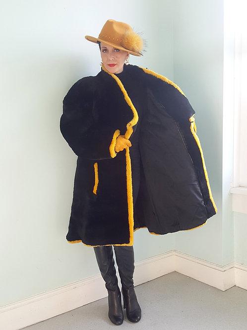 Luxurious avant garde luxury George V Fourrures Couture Paris Mouton fur coat