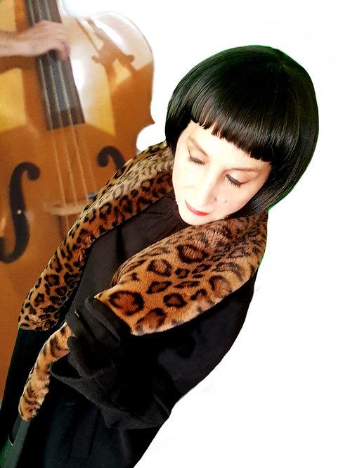 Vintage 1980s does 1950s Emma Somerset cashmere wool coat faux fur coat