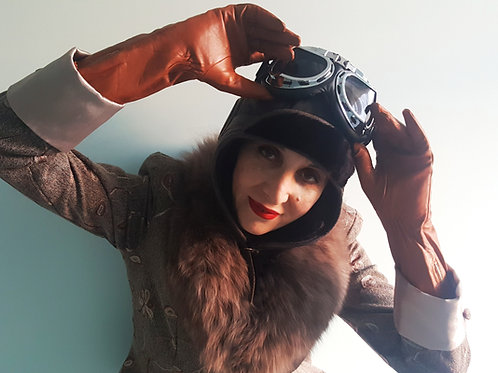 Flying/Motoring Helmet with Goggles Real Sheepskin fur lined leather