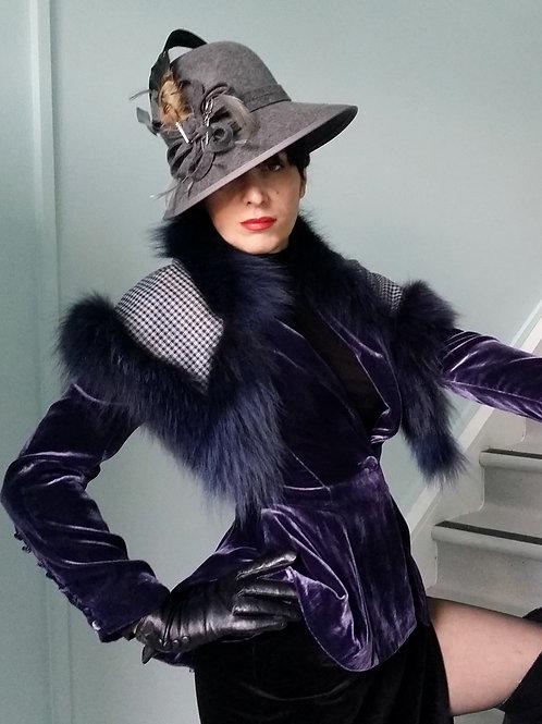 Tweed and fox fur trim capelet