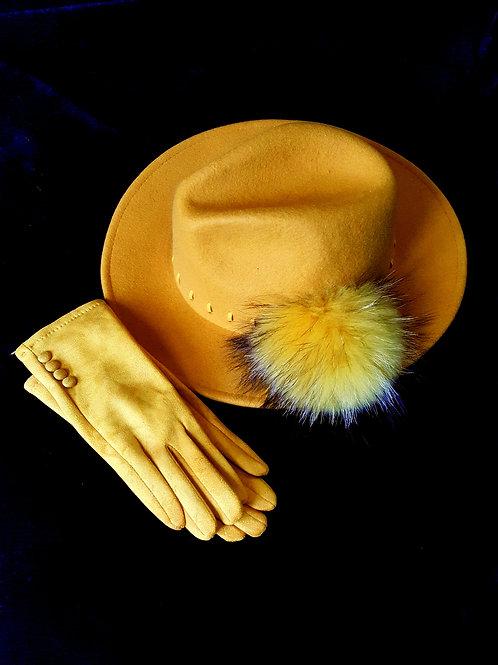 Hat & Glove set: Yellow Trilby