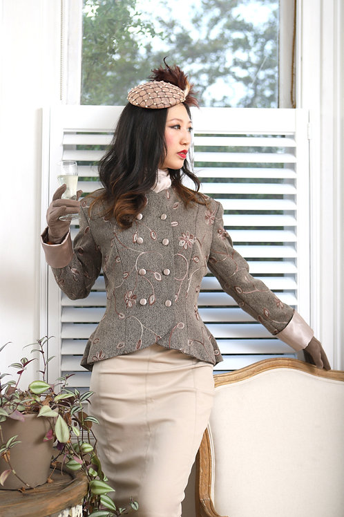 Our 40's style Jacket in Fawn with embroidered effect