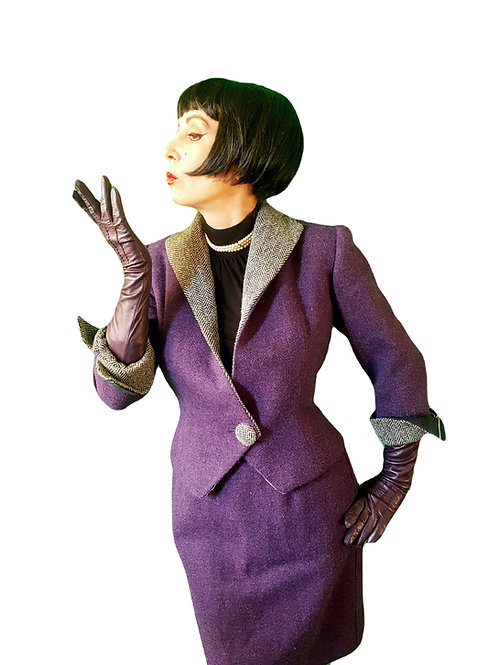 Tweed with a Twist! Quirky Purple Harris Tweed, herringbone & tartan wiggle suit