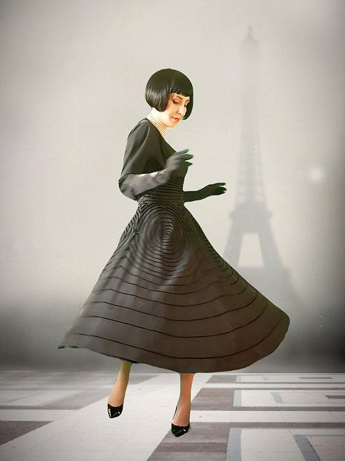 Spellbinding, magical 1940s/50s silk taffeta & silk velvet dress - Haute Couture