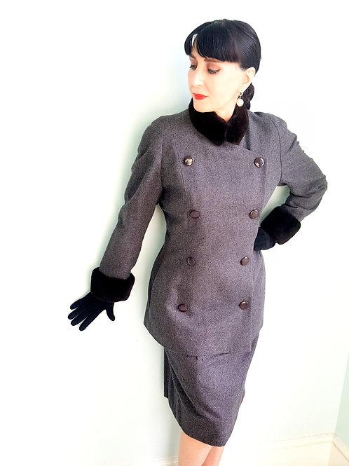 Vintage Cashgora A-K-R-I-S  Haute Couture WWI militaire inspired suit