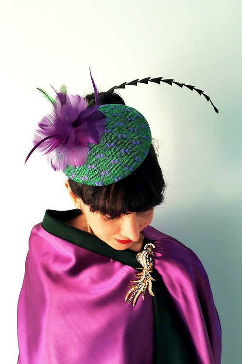 Green and Purple Sinamay hat with floral and feather detail