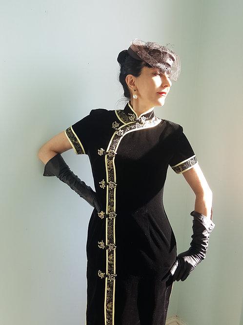 Beautiful quality vintage Manchurian Cheongsam real silk velvet dress size 10 UK